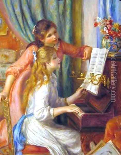 Two Young Girls at the Piano Oil Painting - Pierre Auguste Renoir