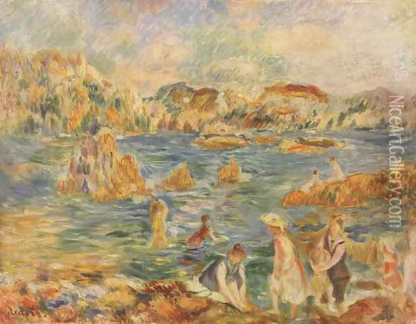 On the beach of Guernesey Oil Painting - Pierre Auguste Renoir