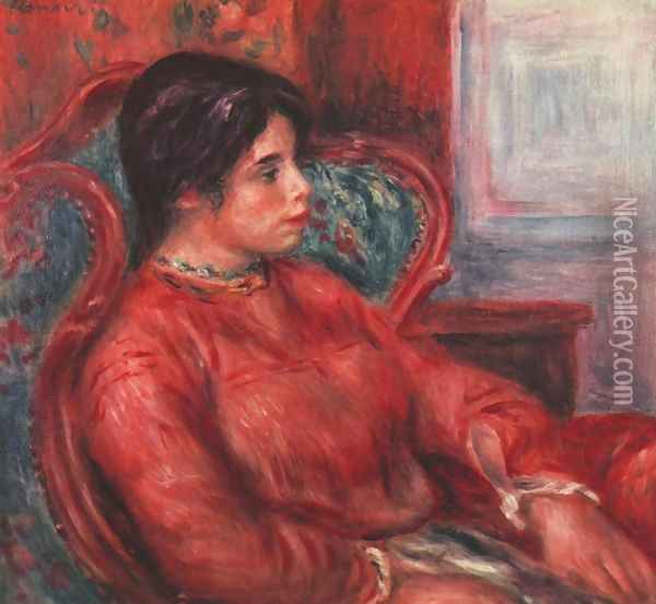 Woman in armchair Oil Painting - Pierre Auguste Renoir