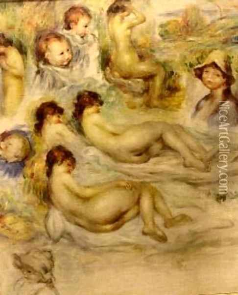 Studies of Nudes The Artists Children and his Wife Oil Painting - Pierre Auguste Renoir