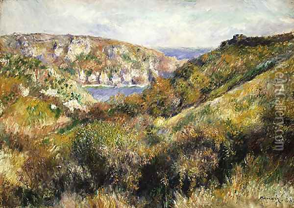 Hills around the Bay of Moulin Huet Guernsey 1883 Oil Painting - Pierre Auguste Renoir