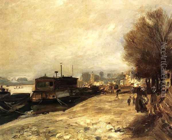 Laundry Boat by the Banks of the Seine, near Paris Oil Painting - Pierre Auguste Renoir