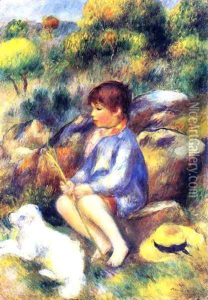 Young Boy by the River Oil Painting - Pierre Auguste Renoir