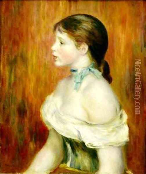 Girl with a Blue Ribbon Oil Painting - Pierre Auguste Renoir