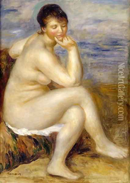 Bather Seated on a Rock 1882 Oil Painting - Pierre Auguste Renoir