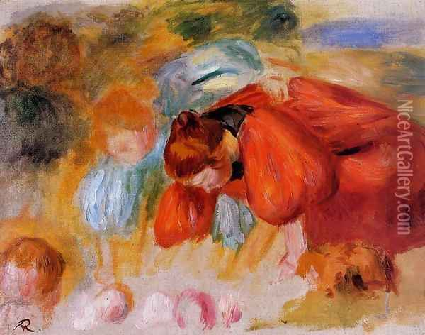 Study for 'The Croquet Game' Oil Painting - Pierre Auguste Renoir