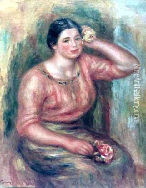 Woman with a Rose Oil Painting - Pierre Auguste Renoir
