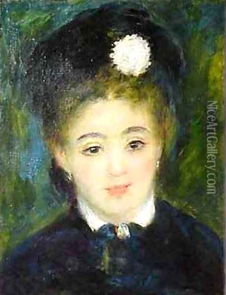 Portrait of a Young Woman in Black Oil Painting - Pierre Auguste Renoir