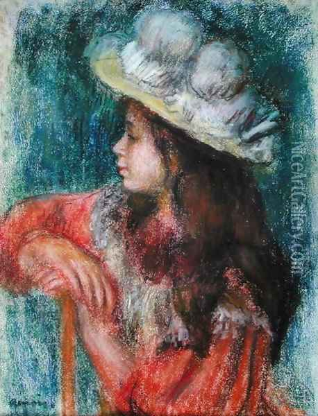 Seated Young Girl in a White Hat 1884 Oil Painting - Pierre Auguste Renoir