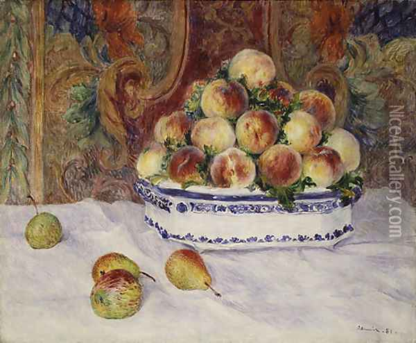 Still Life with Peaches 1881 Oil Painting - Pierre Auguste Renoir