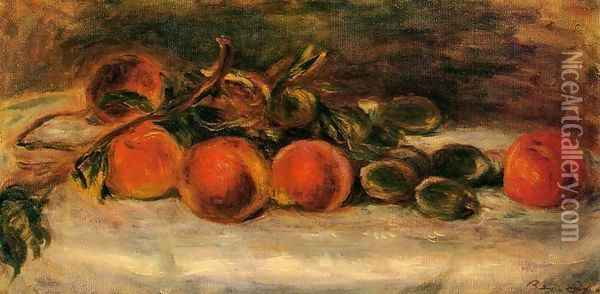 Still Life with Peaches and Chestnuts Oil Painting - Pierre Auguste Renoir