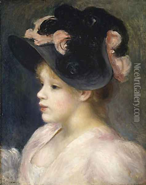 Young Girl in a Pink and Black Hat 1890s Oil Painting - Pierre Auguste Renoir