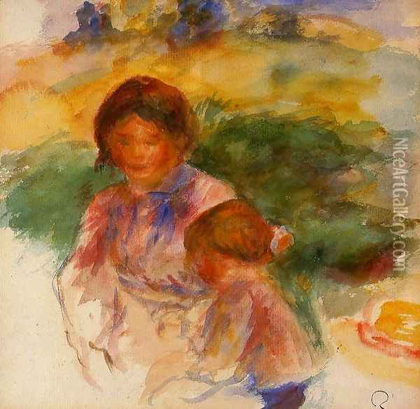 Woman and Child in the Country 1896 Oil Painting - Pierre Auguste Renoir