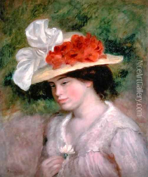 Woman with a Flowery Hat 1899 Oil Painting - Pierre Auguste Renoir