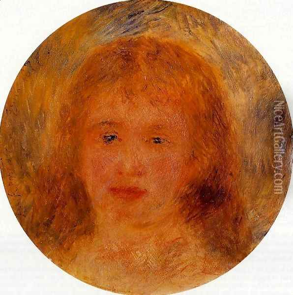 Womans Head (aka Jeanne Samary) 1877 Oil Painting - Pierre Auguste Renoir