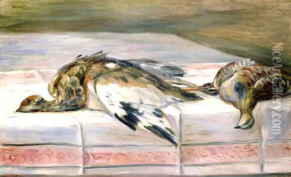 Still Life with Pheasant and Partridge Oil Painting - Pierre Auguste Renoir