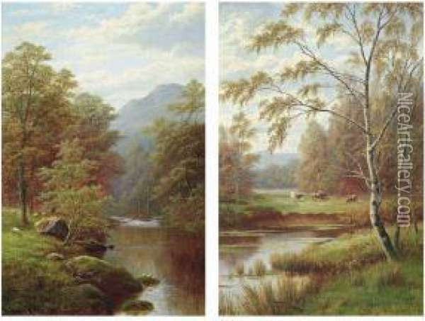 View Near Rokeby, Barnard Castle Oil Painting - William Mellor