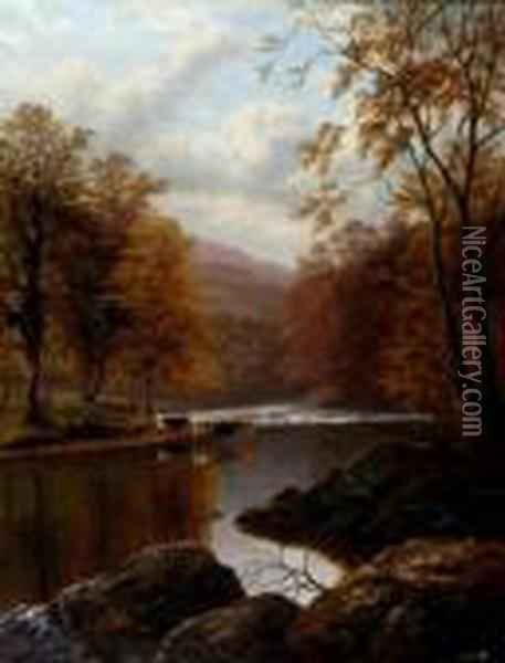 Autumn On The Wharfe Oil Painting - William Mellor