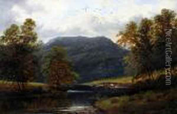 View Of A Welsh River Valley, And Another Similar With Cattle Watering Oil Painting - William Mellor