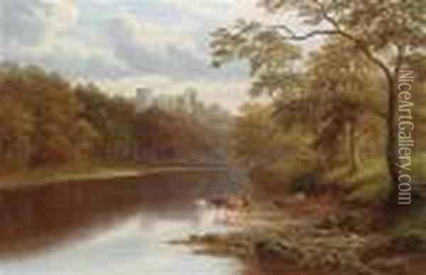English Riverlandscape With View Of Barnard Castle Oil Painting - William Mellor