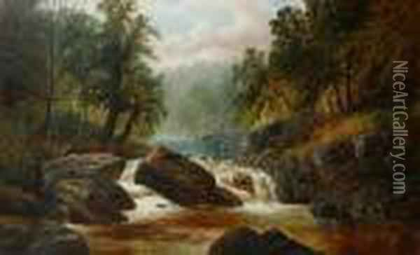 A Wooded River Scene With A Heron Perched Onthe Rocks Oil Painting - William Mellor