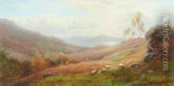 Windermere Lake From The Hills, Ambleside Oil Painting - William Mellor