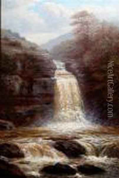 A Waterfall Oil Painting - William Mellor