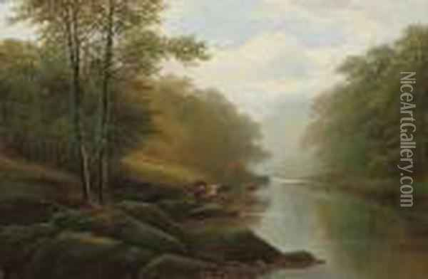 On The Wharfe, Bolton Woods Oil Painting - William Mellor