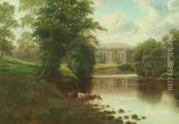 Bolton Abbey From The Wharfe Oil Painting - William Mellor
