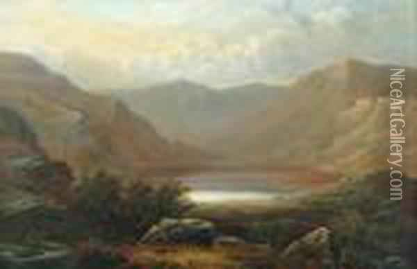 Welsh Llyn, North Wales Oil Painting - William Mellor