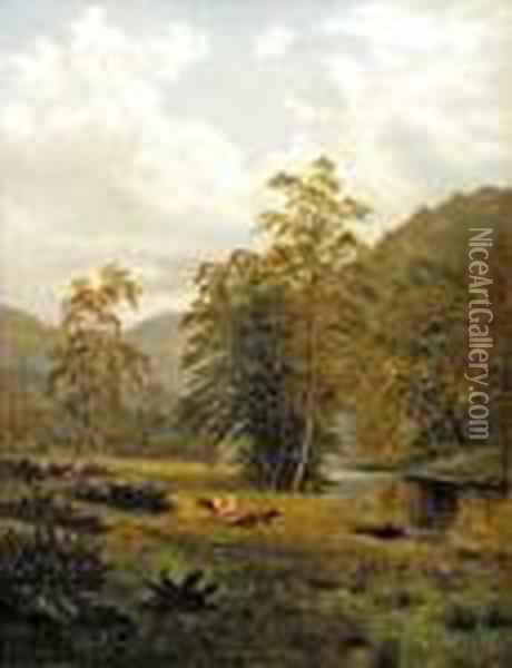 Cattle And Sheep By A River And Trees Oil Painting - William Mellor