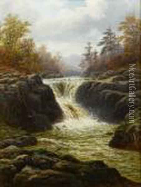 Skelwith Force Westmorland Oil Painting - William Mellor