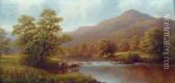 Rydal Lake From Loughrigg Oil Painting - William Mellor