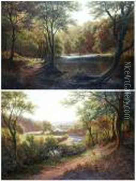 River Wharfe At Bolton Abbey Oil Painting - William Mellor