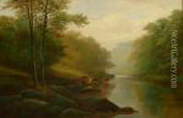 On The Wharfe Bolton Woods Oil Painting - William Mellor