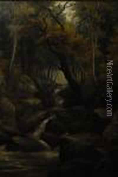 Rocky River Rapids, In Autumn Woodland Oil Painting - William Mellor