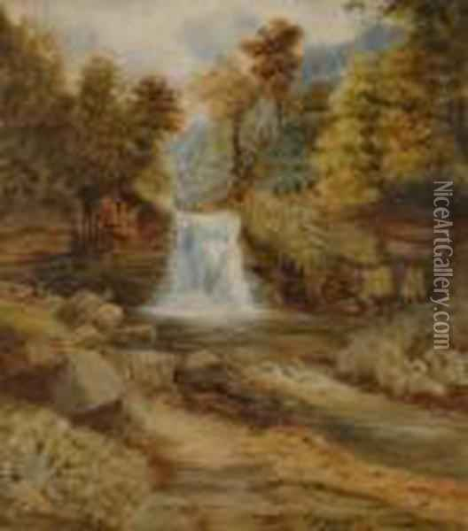 River Landscapes With Waterfalls Oil Painting - William Mellor