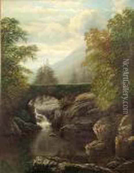 A River Landscape With A Bridge Above A Waterfall Oil Painting - William Mellor