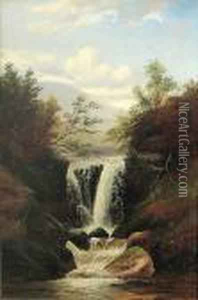 A View Of A Waterfall Oil Painting - William Mellor