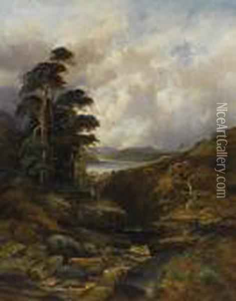 A Rushing Gorge In The Highlands Oil Painting - William Mellor