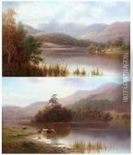 Rydal Lake, Westmorland; Langdale Pikes Oil Painting - William Mellor