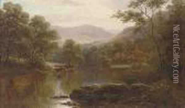 Cattle Watering On The Conway, North Wales Oil Painting - William Mellor