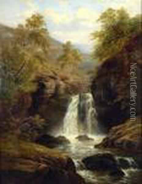 A Waterfall In The Welsh Hills Oil Painting - William Mellor
