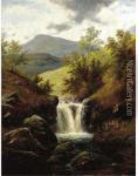 Waterfall Oil Painting - William Mellor