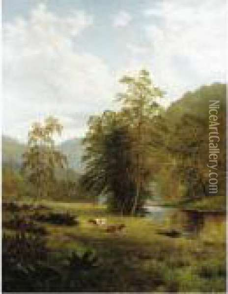 Cattle By A River Oil Painting - William Mellor