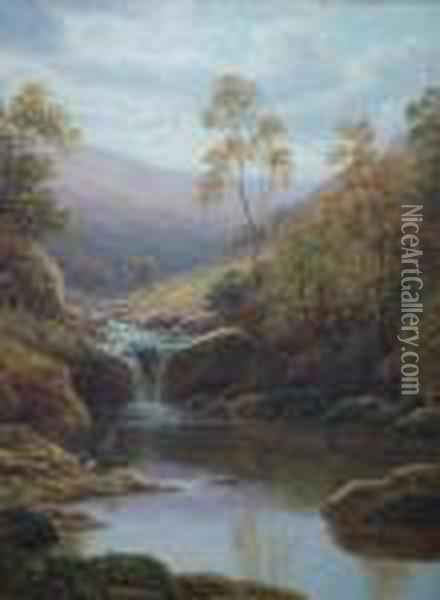 'near Middlesmoor, Nidderdale  And Helks Ghyll, Yorkshire', Pair Of Oils, Signed, Board, 12 Oil Painting - William Mellor