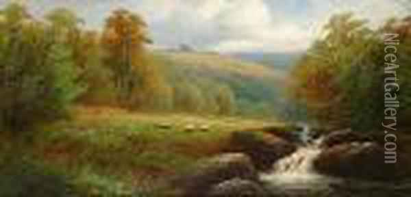 Cattle Watering; Sheep Beside The River Oil Painting - William Mellor