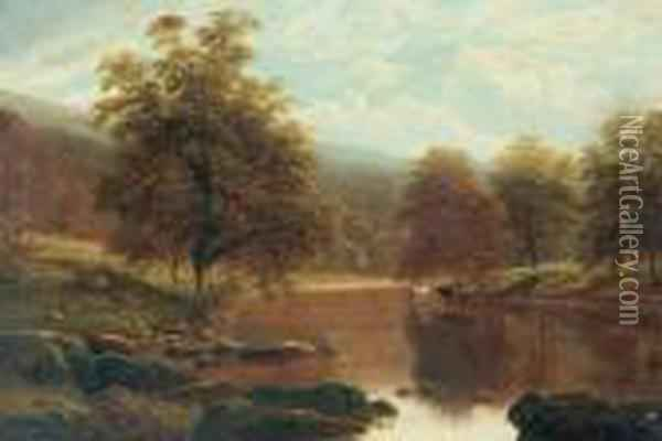 The Wharfe, Bolton Woods. Oil Painting - William Mellor