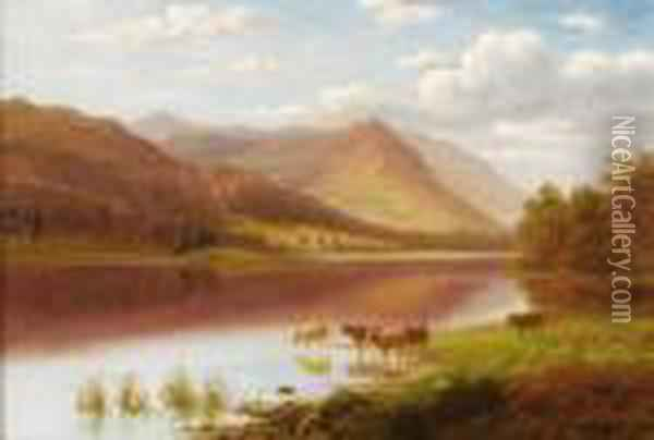 Grasmere Lake, Westmoreland Oil Painting - William Mellor