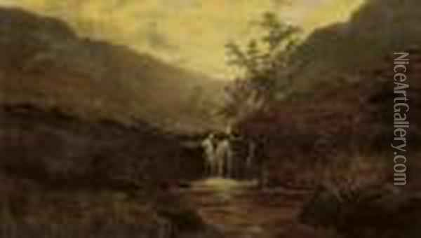 A Moorland Stream Oil Painting - William Mellor